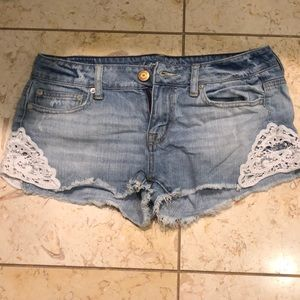 American eagle jean shorts with lace- 4